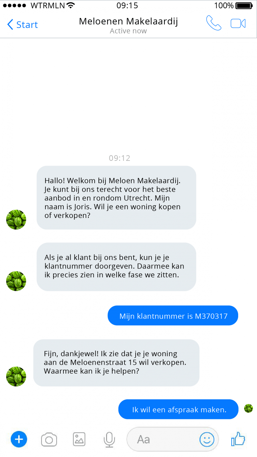 Facebook Messenger chatbot makelaar