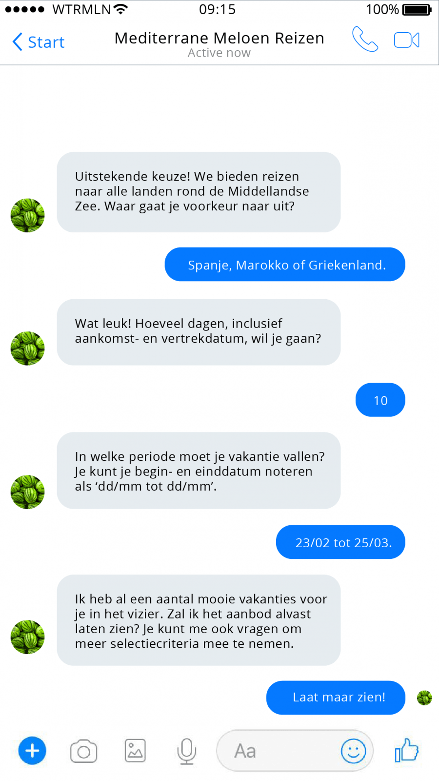 chatbot reisbureau vakantie